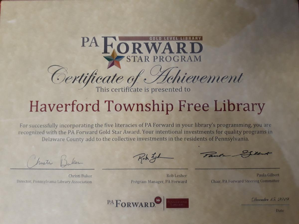 Haverford Township Free Library Achieves Gold Star Status Delaware County Library System